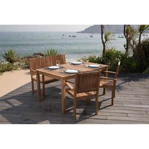 Ensemble de jardin 1 table + 2 fauteuils + 1 banc en acacia FSC
