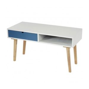 Table d 39 appoint table basse 49x90x40cm blanc laqu tiroir - Table basse 40 cm largeur ...