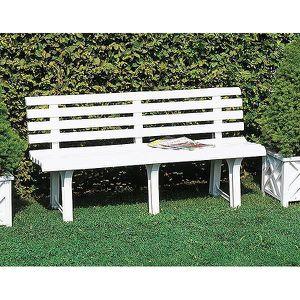 Banc de jardin parc blanc pvc 145x49x74 cm achat for Banc de jardin plastique