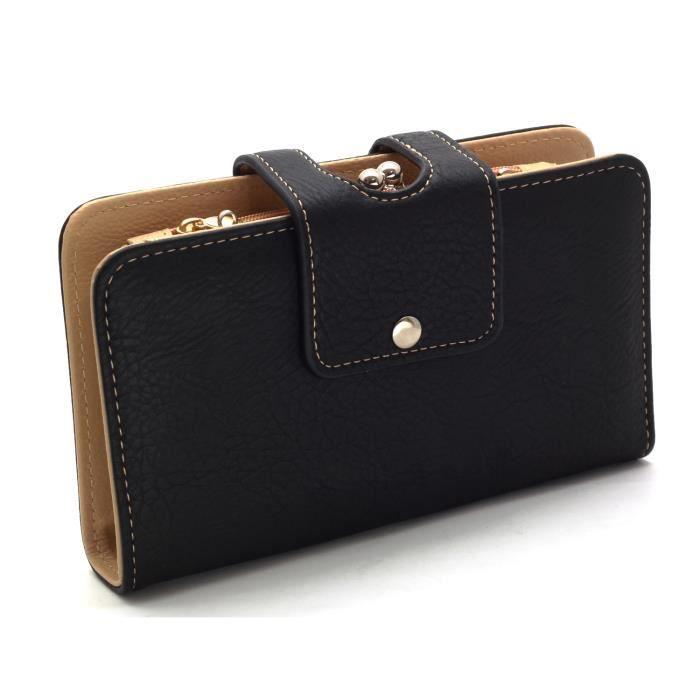 portefeuille femme porte monnaies porte cartes noir achat vente portefeuille 2009871139008. Black Bedroom Furniture Sets. Home Design Ideas