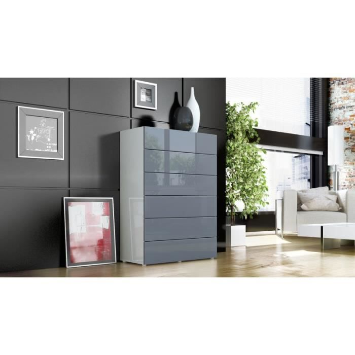 commode blanche et grise corps mat achat vente commode de chambre commode blanche et grise. Black Bedroom Furniture Sets. Home Design Ideas