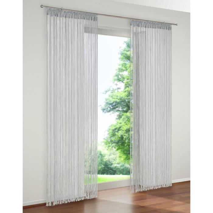 rideaux a fils rideaux de porte couleur argent gris 90 x 240 achat vente rideau de porte. Black Bedroom Furniture Sets. Home Design Ideas