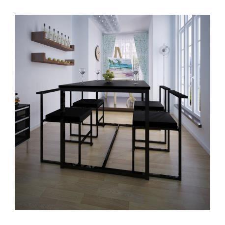 Table de salle manger et 4 chaises noir mdf achat for Salle a manger noir et rouge