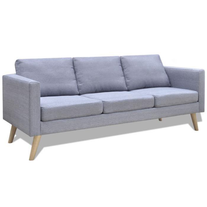 Canap gris clair 3 places achat vente canap sofa divan cdiscount - Largeur canape 3 places ...