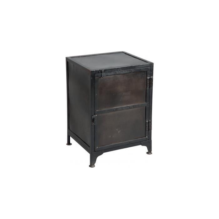 meuble de rangement acier peinture vieillie 1 portes achat vente petit meuble rangement. Black Bedroom Furniture Sets. Home Design Ideas