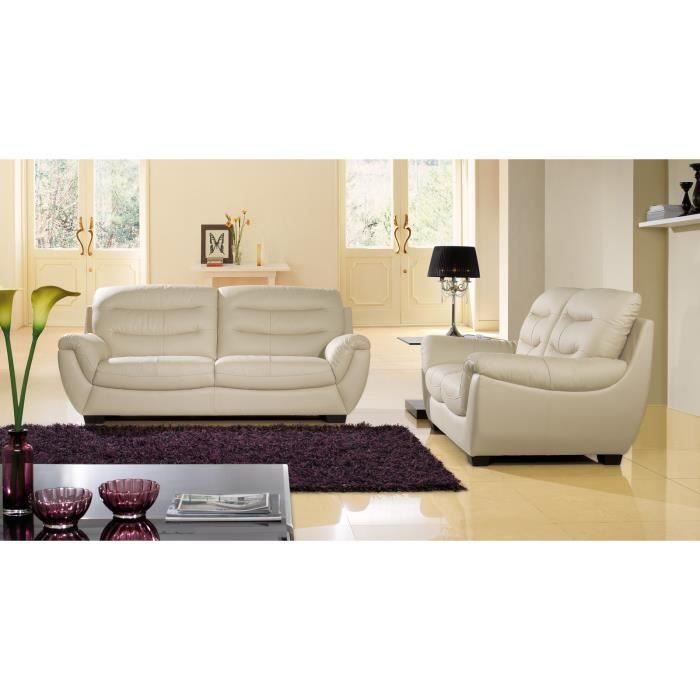 salon cuir sup rieur 3 2 places beige coral achat vente canap sofa divan cuir bois pu. Black Bedroom Furniture Sets. Home Design Ideas