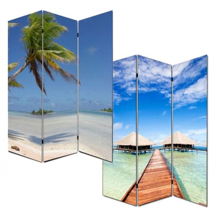 Paravent en toile motif de plage dim h180 x l120 cm for Toile de plage ikea