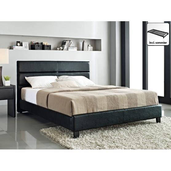 lit en cuir lit double 160x200 cm noir sommier. Black Bedroom Furniture Sets. Home Design Ideas