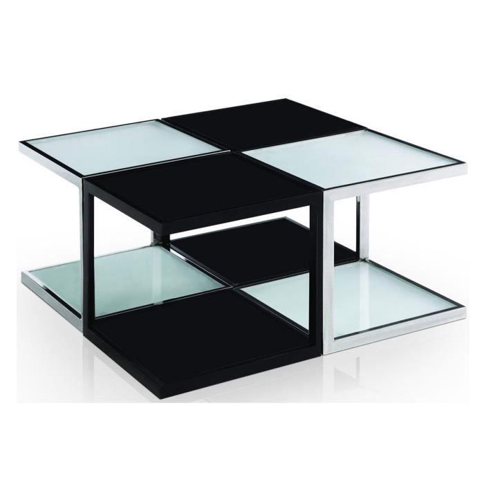 Table basse design en 4 parties verre noir blanc ohio for Table basse en verre noir