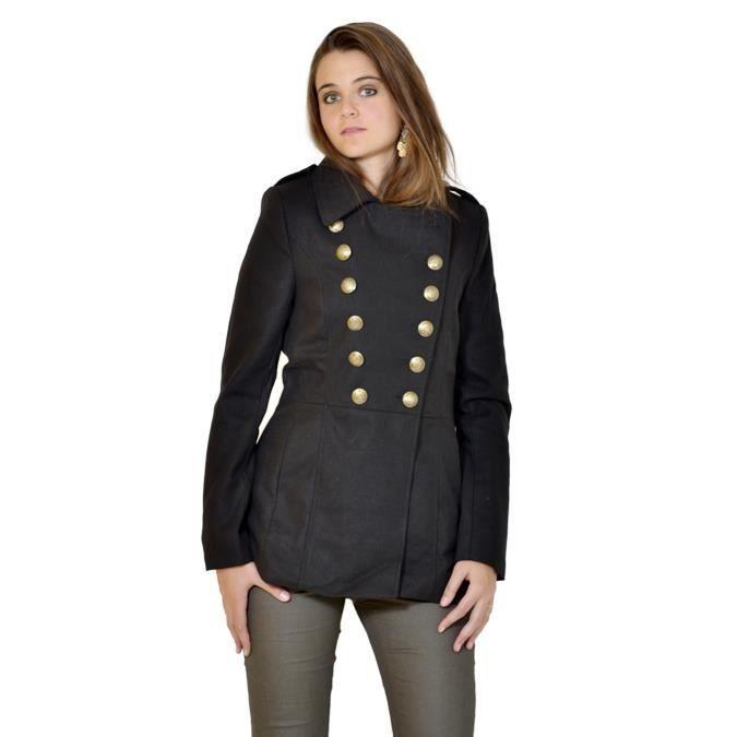 caban femme b young noir court noir achat vente manteau caban cdiscount. Black Bedroom Furniture Sets. Home Design Ideas