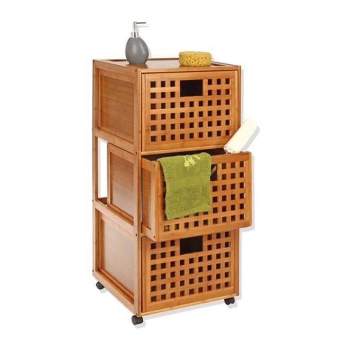 Paris prix meuble bas 3 tiroirs bambou achat vente for Meuble bas bambou