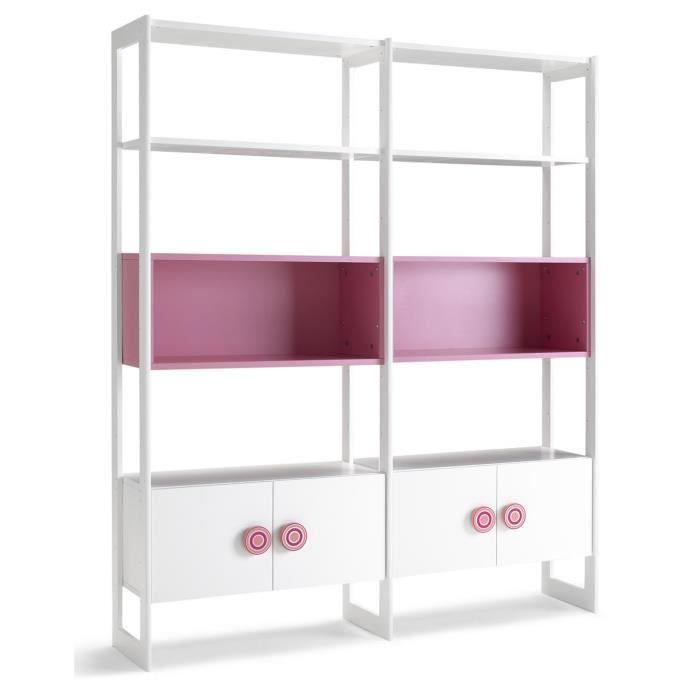 Biblioth que en bois avec 4 portes et 2 tag res coloris rose blanc dim h - Bibliotheque achat en ligne ...