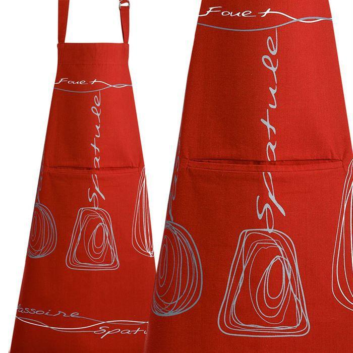 Tablier rouge brindilles achat vente tablier de - Model tablier de cuisine ...