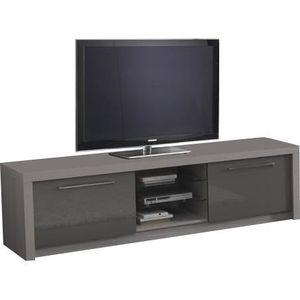 Meuble tv gris laque et bois achat vente meuble tv - Meuble tv bois gris ...