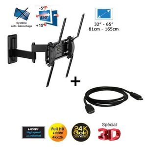 FIXATION - SUPPORT TV MELICONI 920009 - Support TV Mural + Câble HDMI