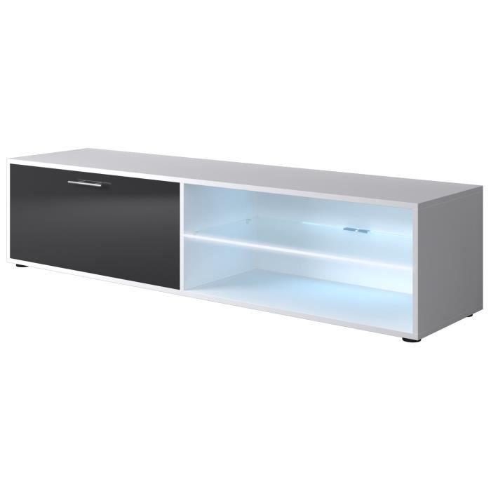 Kora meuble tv contemporain blanc et gris brillant l 160 - Meuble tv gris cendre ...
