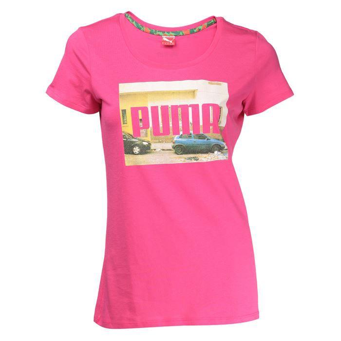 puma t shirt femme rose achat vente t shirt cdiscount. Black Bedroom Furniture Sets. Home Design Ideas
