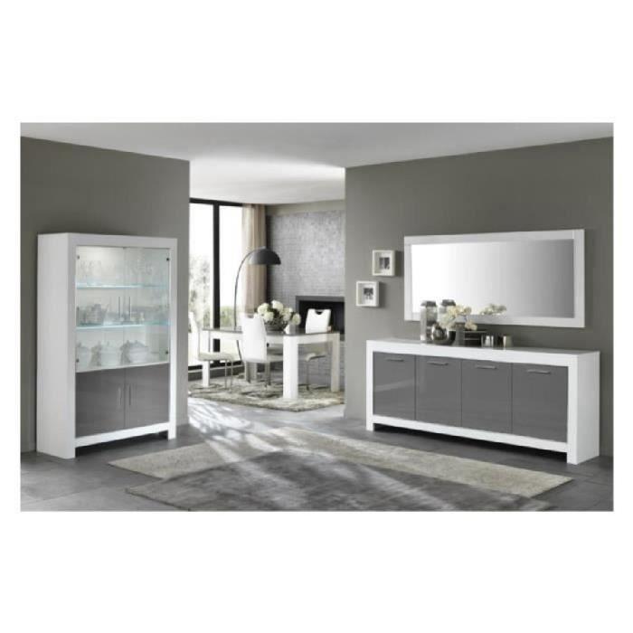 bahut modena 4 portes blanc gris laque achat vente. Black Bedroom Furniture Sets. Home Design Ideas