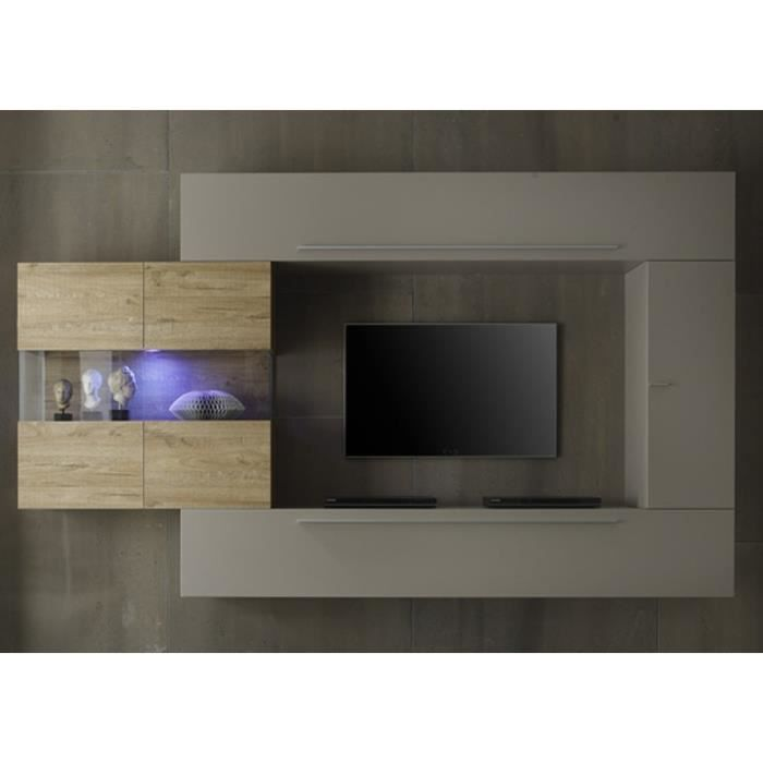 Ensemble meuble tv mural gris et miel quapa avec for Meuble tv mural gris