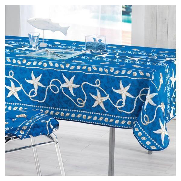 nappe coquillage bleu 3m50 x 1m50 anti tache et infroissable achat vente nappe de table. Black Bedroom Furniture Sets. Home Design Ideas