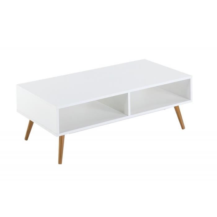 Table basse blanche 4 pieds ch ne vintage achat vente for Table basse 3 pieds