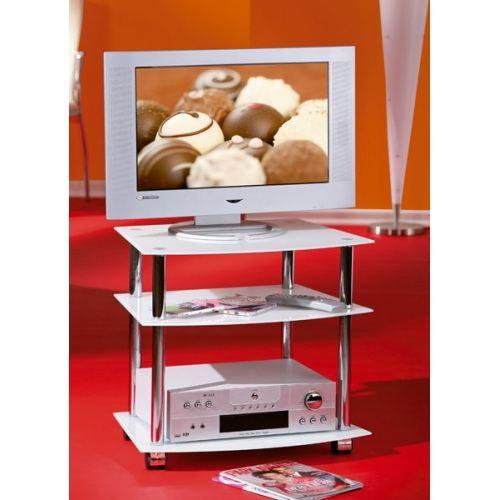 Meuble de t l en verre blanc latio achat vente meuble for Meuble tele en verre