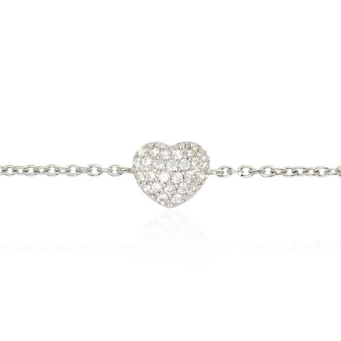 Ce bracelet cœur en Argent 925/1000 et pavé doxydes de zirconium est un basique de la bijouterie, qui saura être un cadeau apprécié du plus grand nombre.