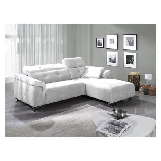 Canap relaxation angelo blanc droit achat vente canap sofa divan - Cdiscount canape relax ...
