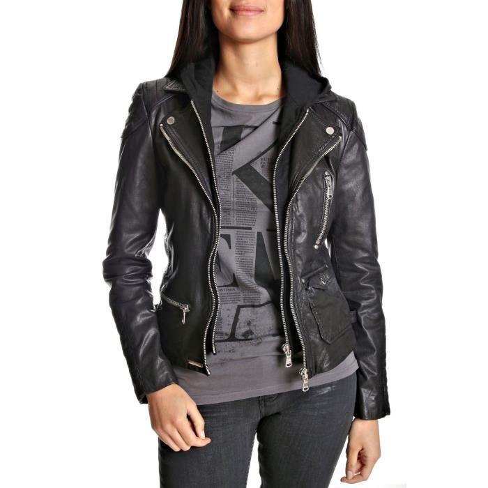veste en cuir redskins femme ang noir achat vente veste veste en cuir redskins femm. Black Bedroom Furniture Sets. Home Design Ideas