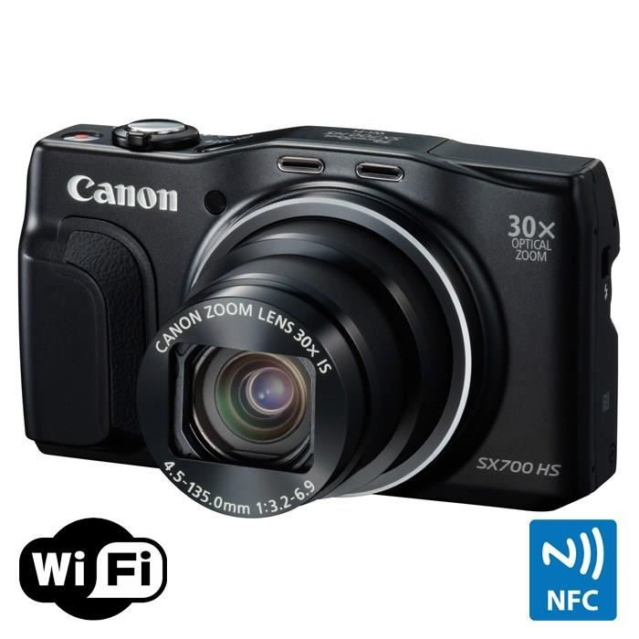 canon sx700 hs noir cmos 16 mp zoom 30x appareil photo. Black Bedroom Furniture Sets. Home Design Ideas