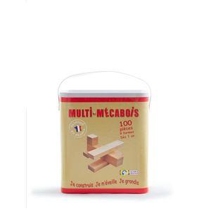 ASSEMBLAGE CONSTRUCTION Mecabois Boîte de 100 pièces 9 formes différentes