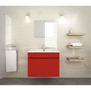 LUNA Ensemble de meubles de salle de bain : vasque + miroir + meuble sous-vasque 60 cm - Rouge mat