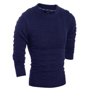 PULL Pull Homme Marque Luxe tricoté Col rond Pull Laine