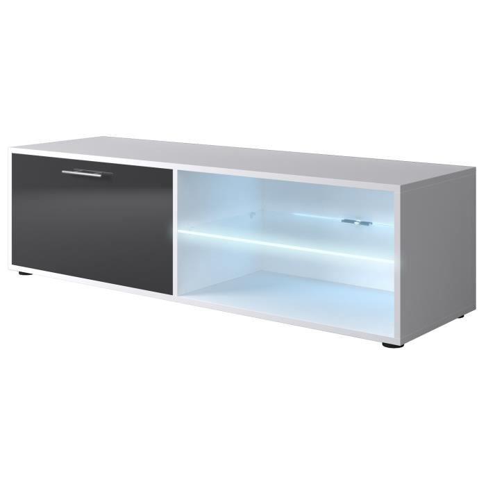 Kora meuble tv 120cm avec clairage led gris brillant for Finlandek meuble tv mural katso 160cm blanc et noir