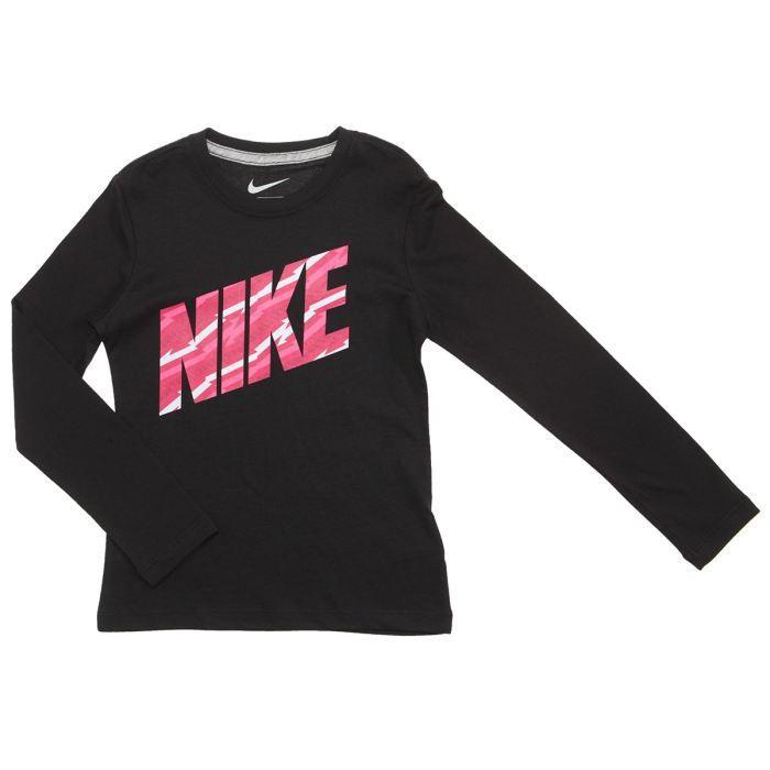nike tee shirt fille noir rose et gris achat vente t shirt nike tee shirt fille cdiscount. Black Bedroom Furniture Sets. Home Design Ideas