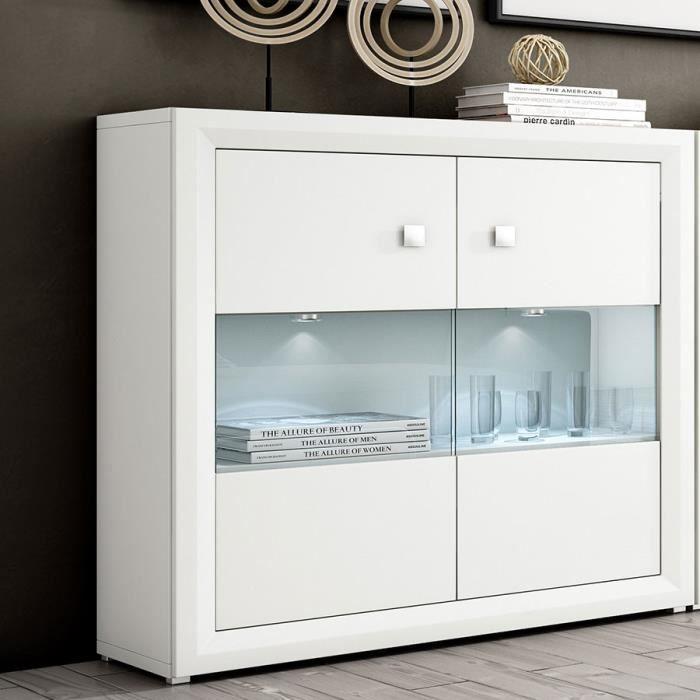 Bahut haut blanc brillant design signal eclairage led achat vente buffet - Bahut design haut de gamme ...
