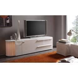 Meuble tv hifi blanc ou gris fonc laqu avec bar int gr for Meuble hifi blanc laque
