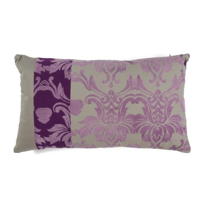 Baroque flock coussin 30x50 violet gris parme coton for Housse de coussin baroque