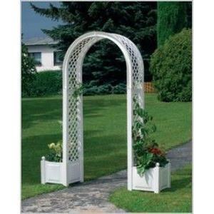 Pergola arc double avec jardini res achat vente for Jardiniere avec treillis en pvc