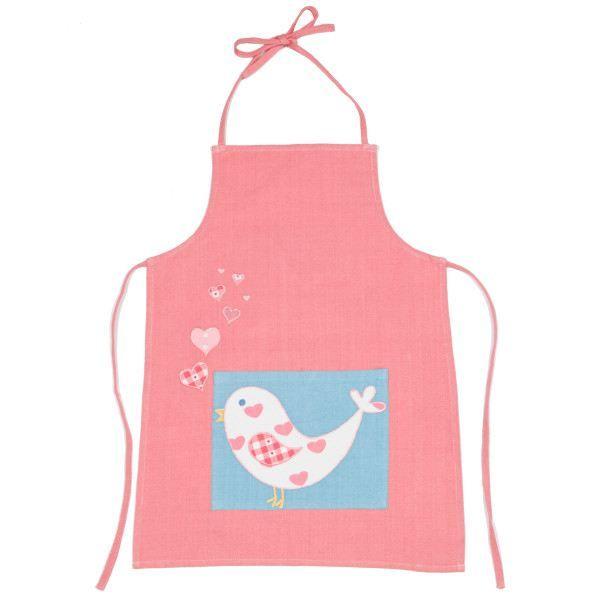 Tablier de cuisine enfant oiseau rose 3 6 ans achat vente tablier de cuisine cdiscount Patron tablier cuisine 2 ans