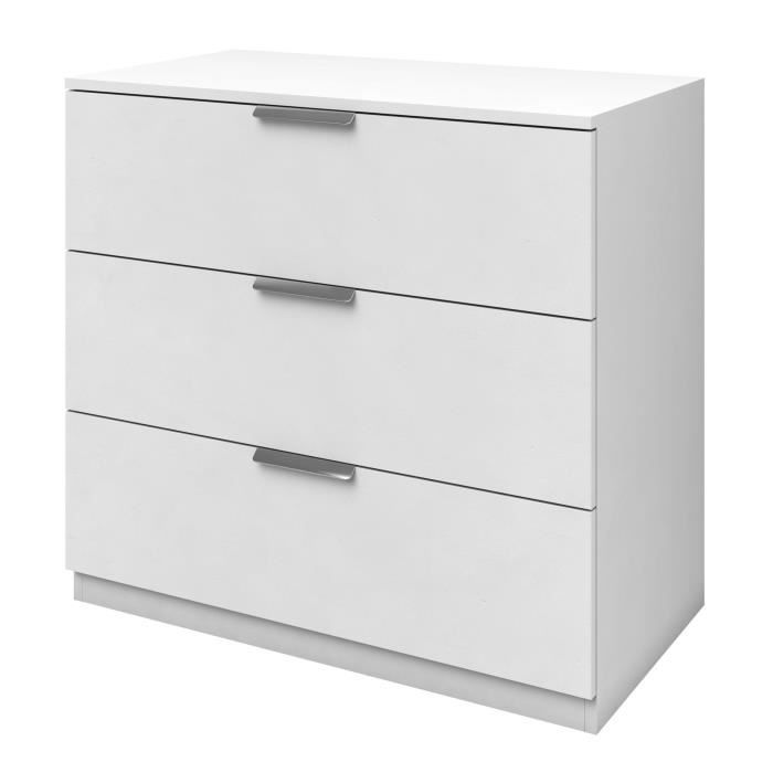 billund commode de chambre style contemporain m lamin blanc l 80 cm achat vente commode. Black Bedroom Furniture Sets. Home Design Ideas