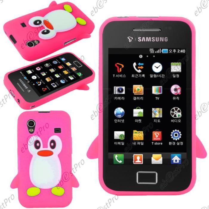 ebeststar coque pingouin samsung galaxy ace rose achat. Black Bedroom Furniture Sets. Home Design Ideas