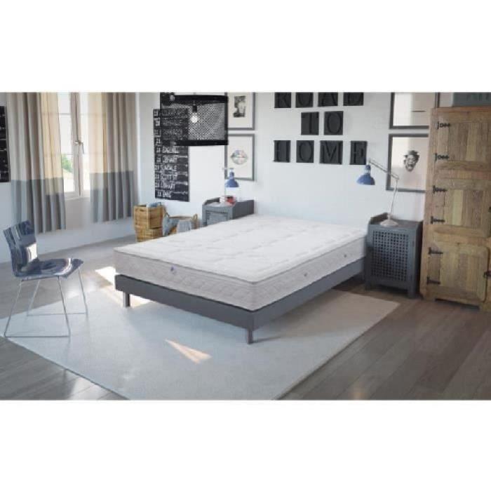 iris ensemble sommier et matelas haute r silience 90x190cm 1 personne mousse ferme 35kg. Black Bedroom Furniture Sets. Home Design Ideas