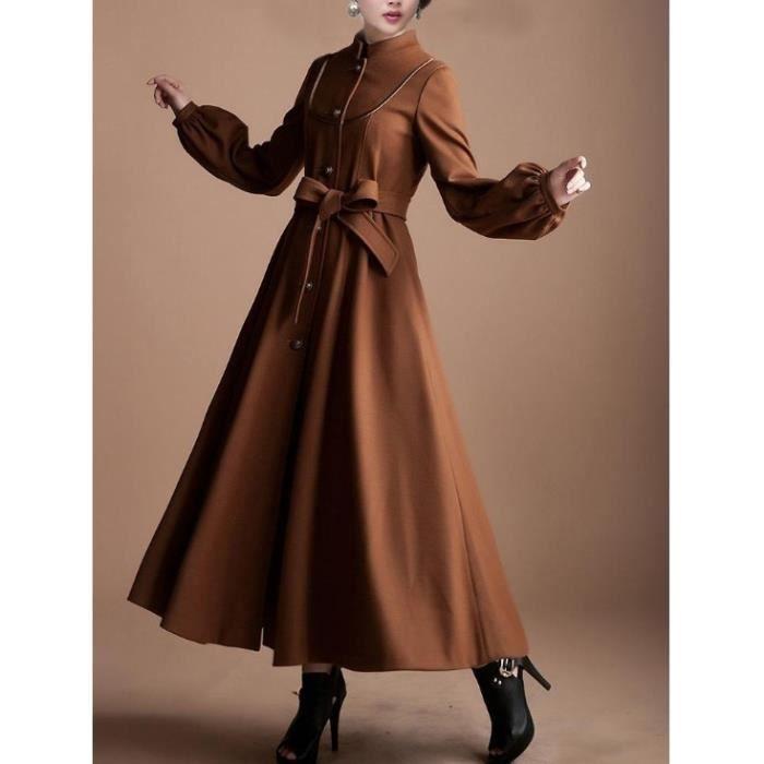 long manteau femme en laine marron marron marron achat vente manteau caban cdiscount. Black Bedroom Furniture Sets. Home Design Ideas