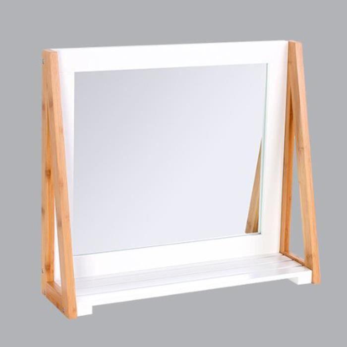 miroir avec une tablette blanche 30 x 30 cm achat. Black Bedroom Furniture Sets. Home Design Ideas