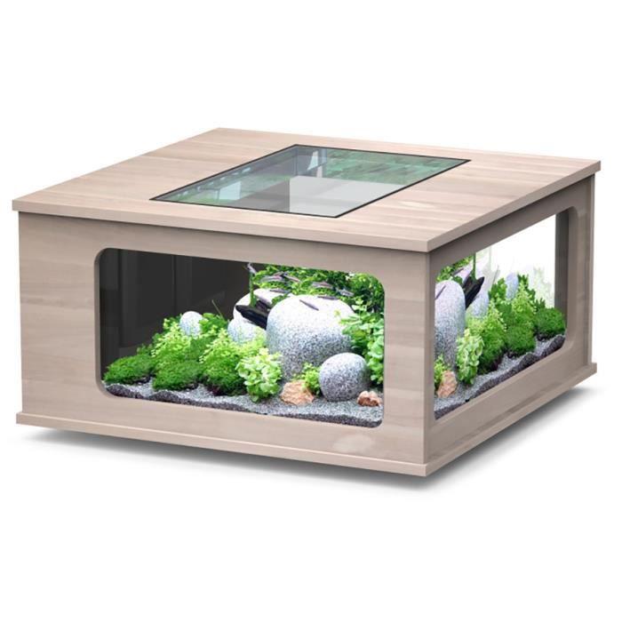 aquarium table led 100x100 cm noyer clair taille achat vente sous meuble aquarium table led. Black Bedroom Furniture Sets. Home Design Ideas
