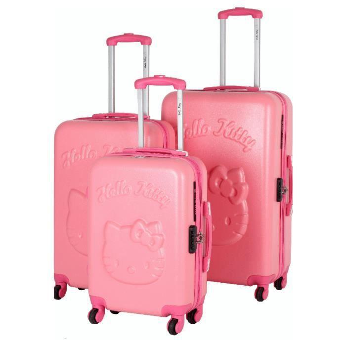 bagage hello kitty set de 3 valise rose achat vente. Black Bedroom Furniture Sets. Home Design Ideas