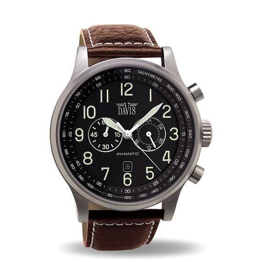 montre homme aviateur 48mm chrono etanche 50m noir achat vente montre cdiscount. Black Bedroom Furniture Sets. Home Design Ideas