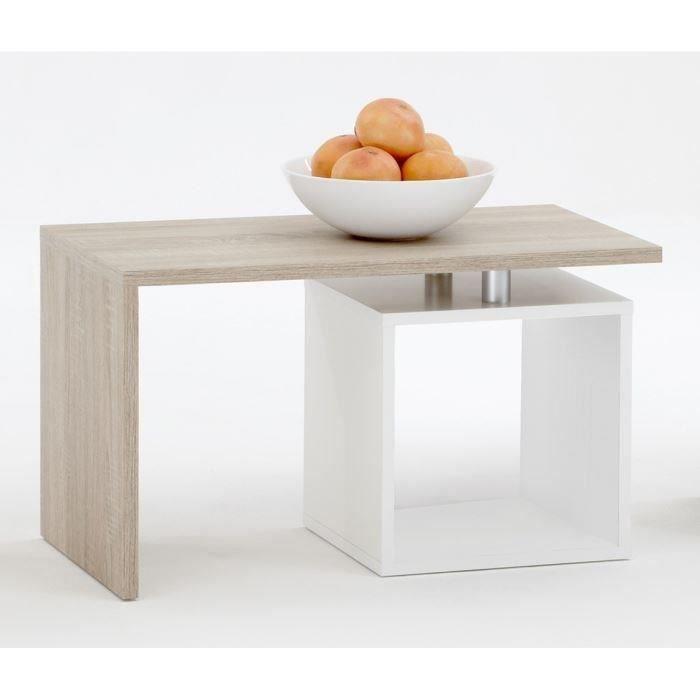 Klara table basse coloris ch ne et blanc achat vente for Table ronde chene clair