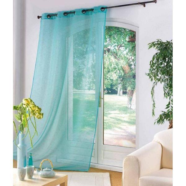Voile 140x240cm luminea turquoise achat vente voilage for Rideau pour porte patio cuisine